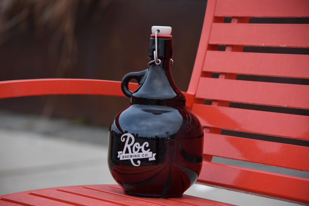 Roc brewing co glass growler